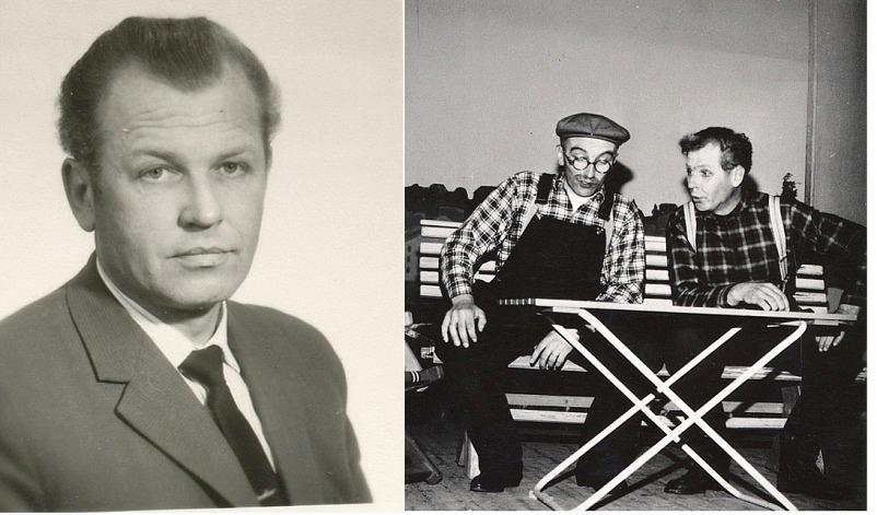 """Åke var i yngre år känd som revymakare och skådespelare och han medverkade i många pjäser och revyer både i Dagsmark och i Lappfjärd. På bilden till höger sitter Åke bredvid Torsten Storhannus från Lappfjärd. Åke turnerade också med andra artister som besökte Österbotten. Till exempel Gösta """"Snoddas"""" Nordgren var en sådan som Åke följde med på turné i Finland."""