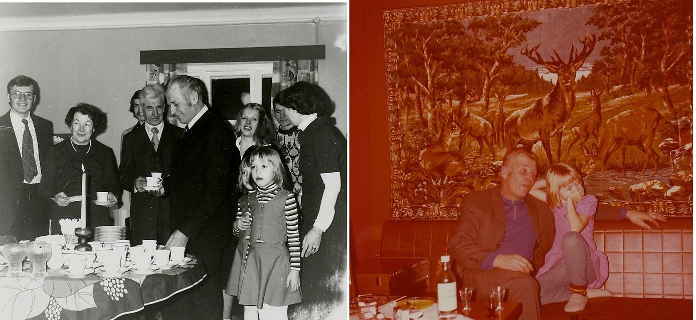 Här till vänster fyller Åke 50 år och hela släkten är med och firar. Till höger sjunger Åke för en av Per-Eriks tvillingflickor på Jennys 50-årskalas.