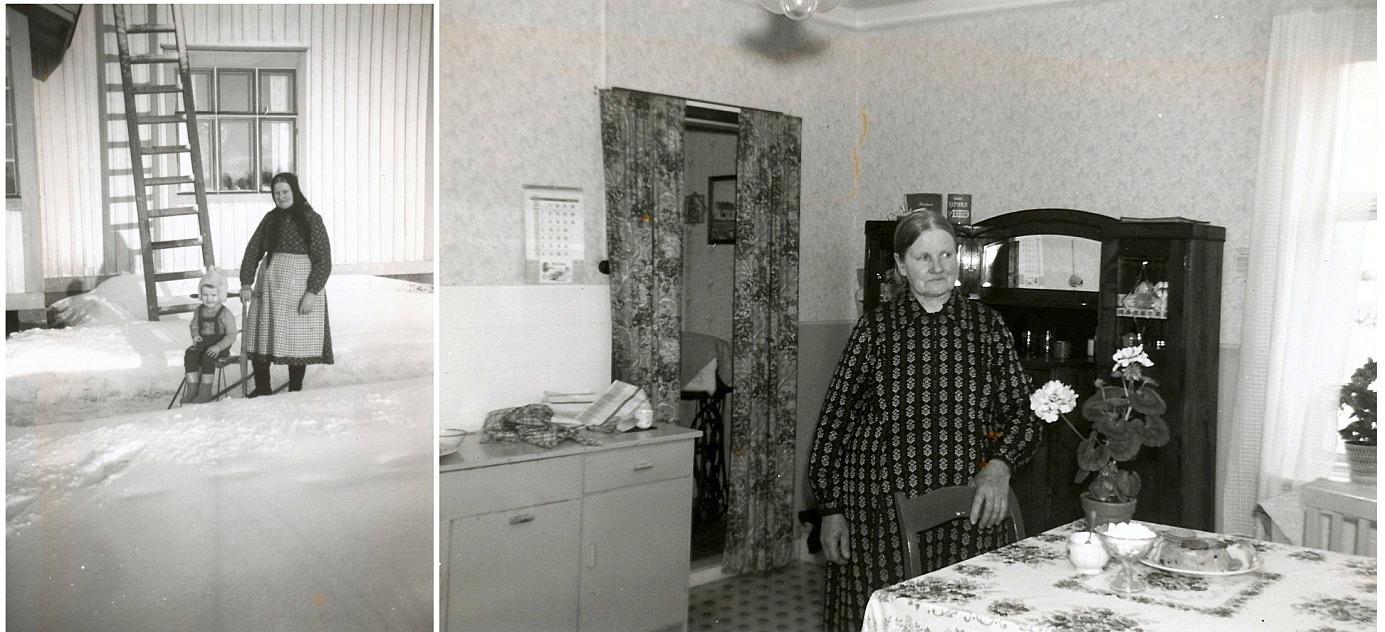 På fotot till vänster Ida på 50-talet med barnbarnet Kurt på sparkaren.
