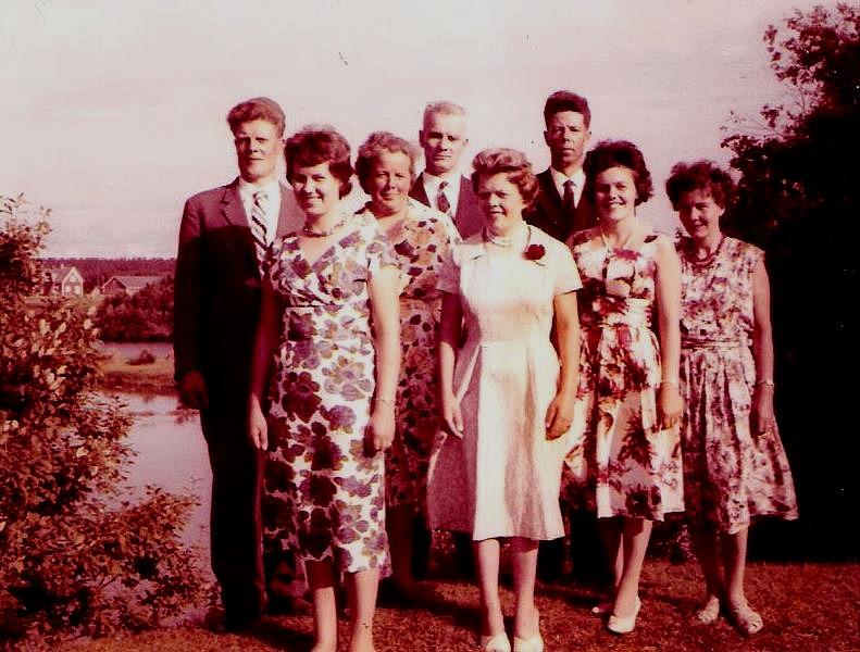 I familjen Grönlund föddes åtta barn. Döttrarna fr.v: Signhild, Elin, Gunvor, Else och Elvy. Sönerna fr.v är Nils, Sigvald och Eskil. Den yngsta dottern är i dag ägare av hemgården. Fotografiet är taget år 1960 på tjärdalen. I bakgrunden syns Kias holmen och Elna och Anselm Lillkulls, senare Håkan Söderqvists hus.