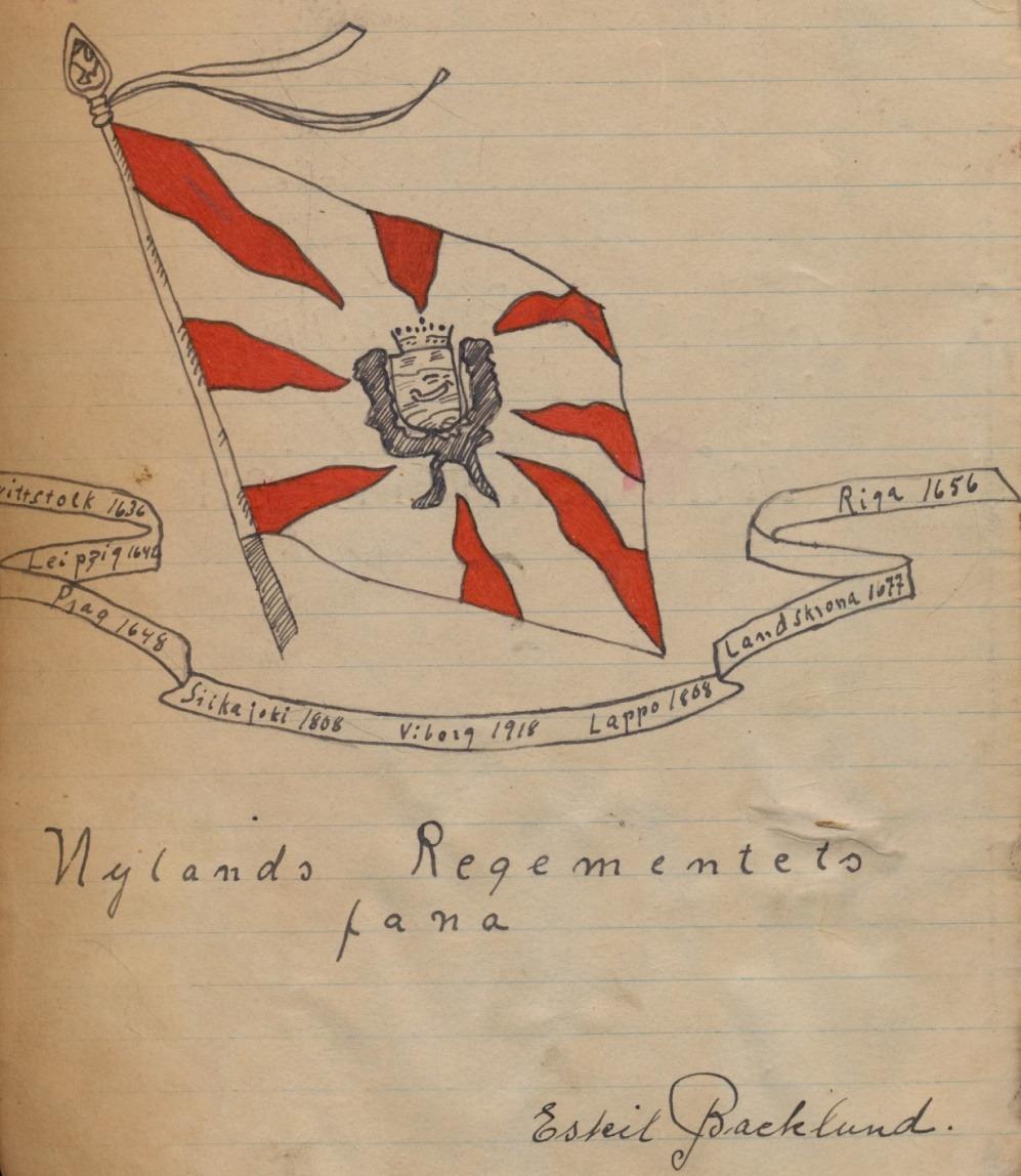 Här har Eskil ritat regementets fana i sin militärbok, året var 1938.
