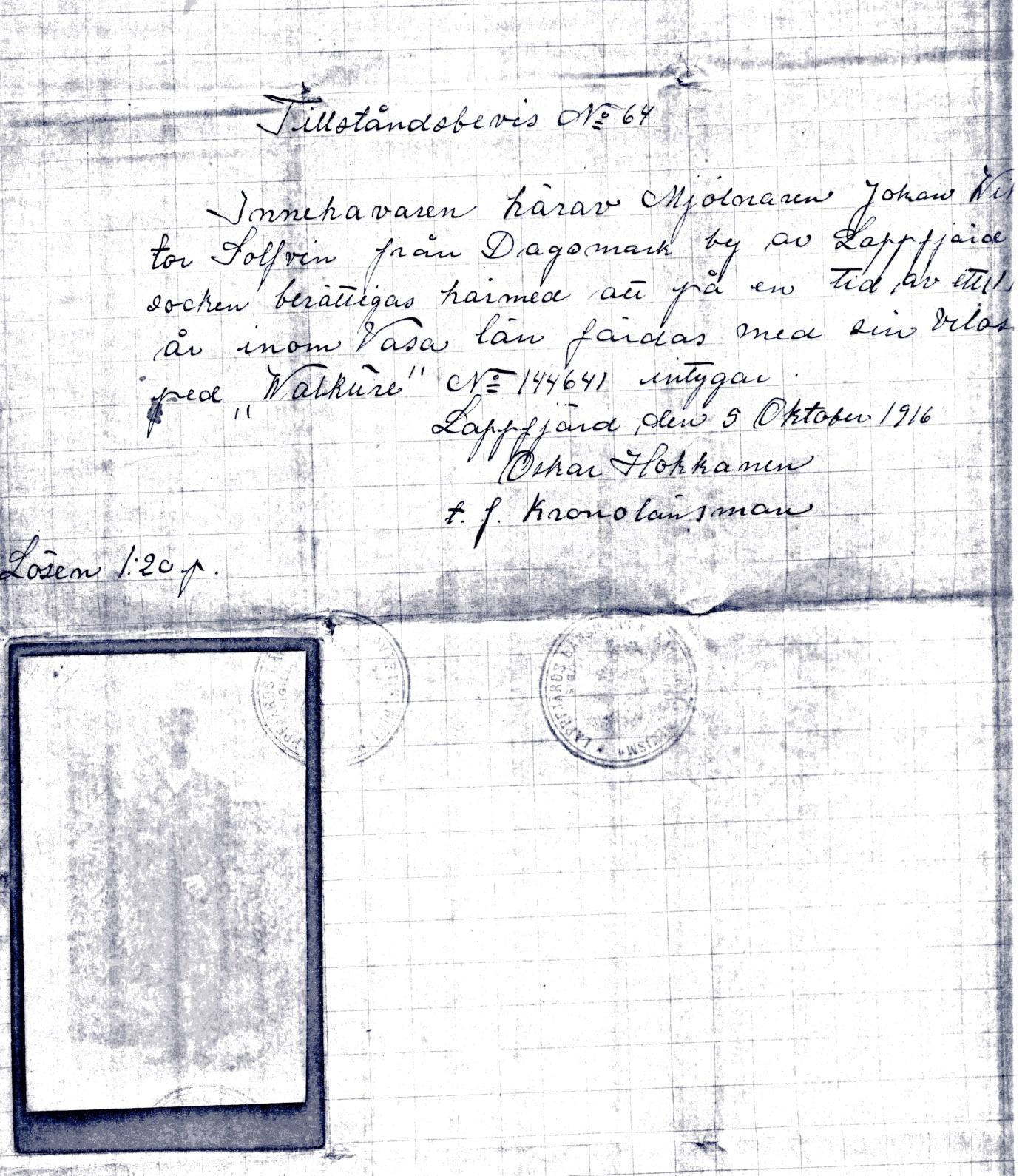 I oktober 1916 fick Viktor Solfvin från Dagsmark tillstånd av kronolänsmannen Hokkanen i Lappfjärd att framföra velociped. Tillståndet gällde bara för ett år men under den tiden fick han röra över hela Vasa län.