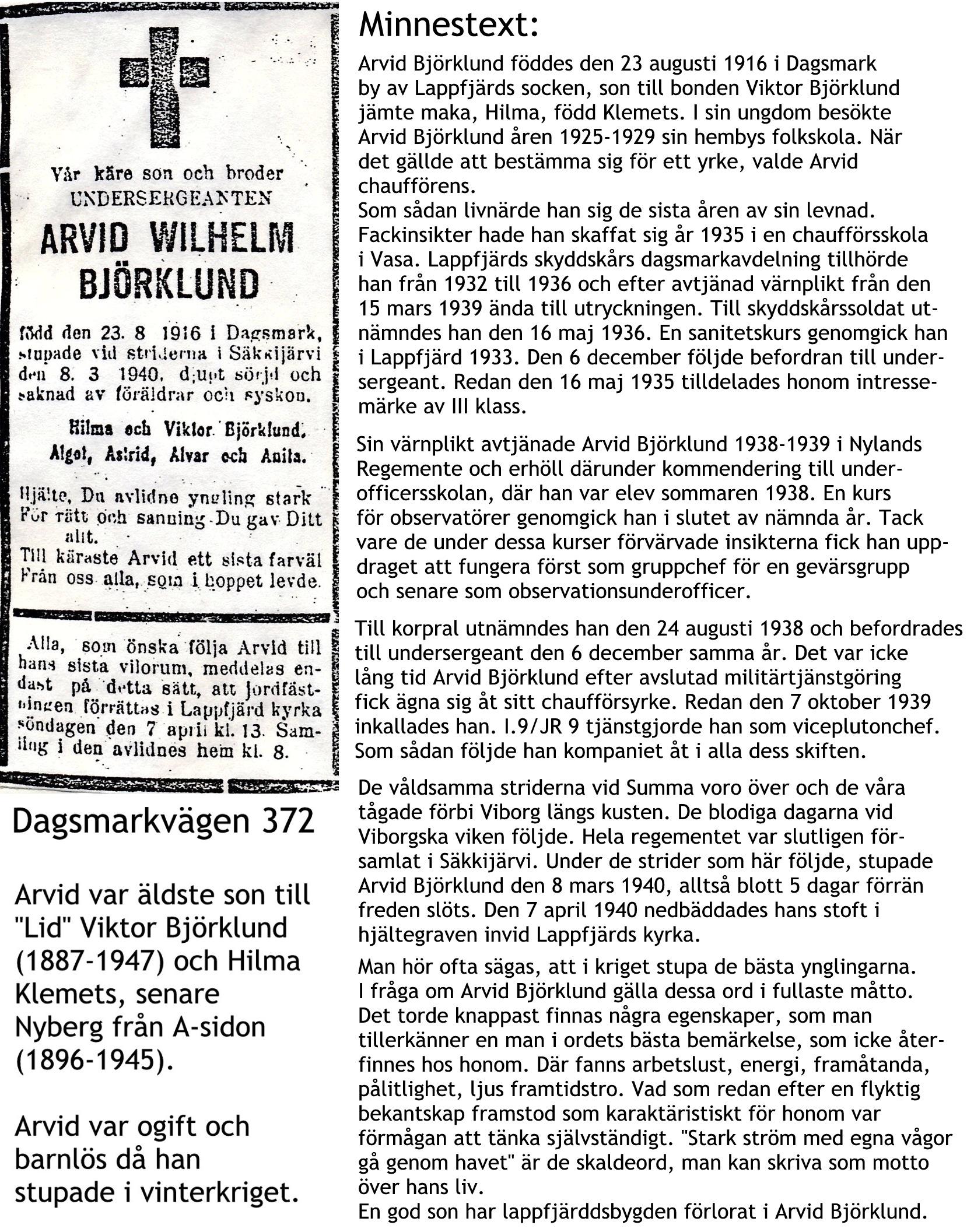 Björklund ARVID Wilhelm