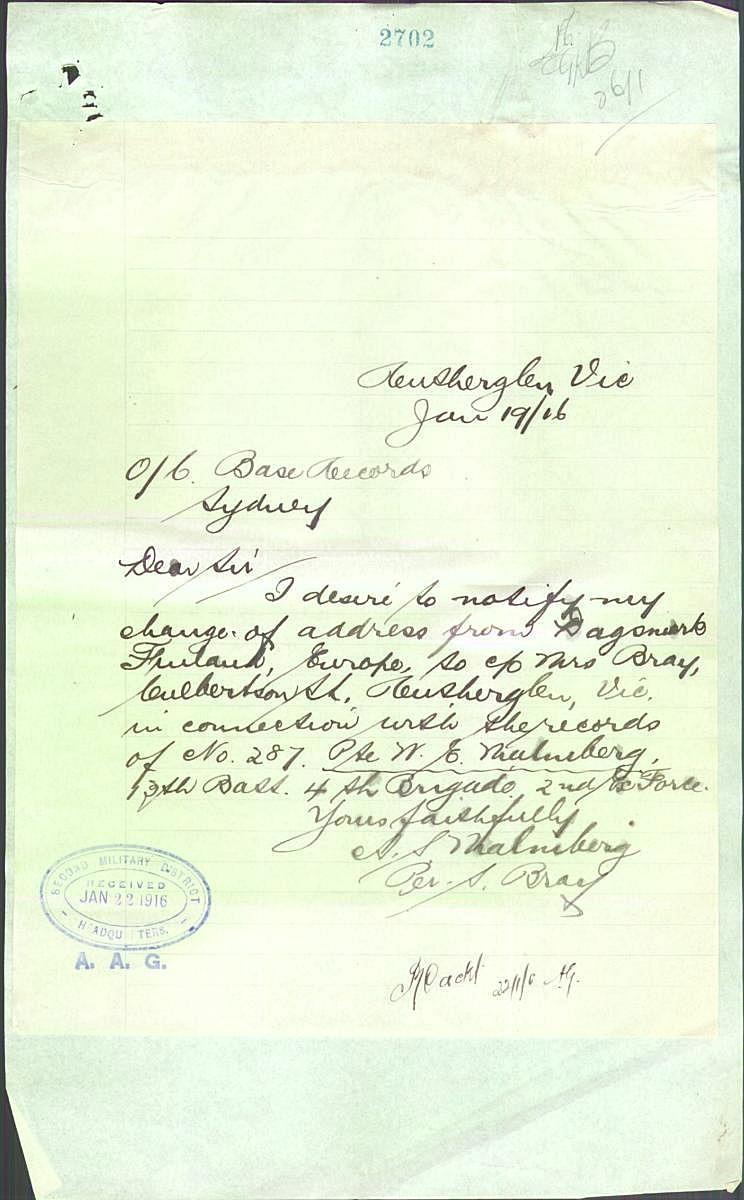 År 1916 korrigerade Amanda Sofia sina adressuppgifter från Dagsmark, Finland, Europe till c/o Mrs Bray, Culbertson Street, Rutherglen, Vic, Australia.