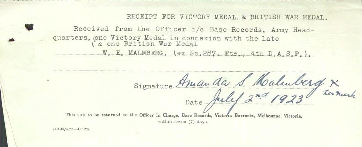 Walter Edward avled 28 maj 1919 på Griffith hospital, då 24 år gammal. Han begravdes på Bagtown Cemetery, New South Wales. Modern Amanda Sofia fick år 1923 motta medaljen för sonens insats i första världskriget.