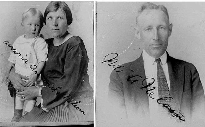 Ragnvald, Amanda och Nils Nelson 1923.