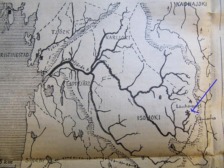 På denna karta ser vi bra Lappfjärds å med alla biflöden.