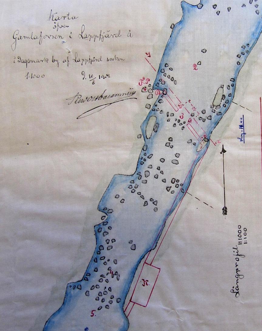 På denna karta så ser vi att forsen nedanför Nylundas kallas för Gamlaforsen.