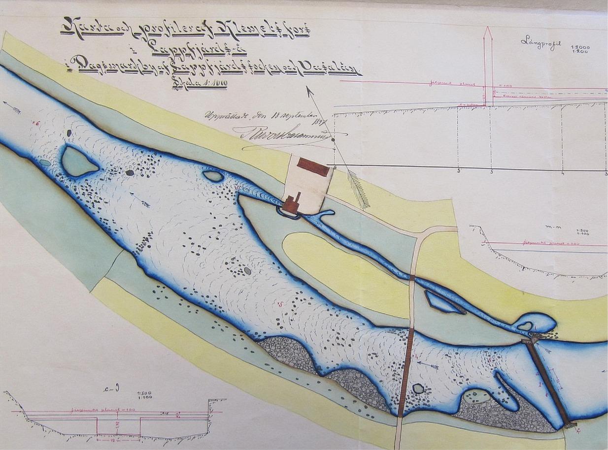 I Klemetsforsen har det funnits en kvarn som drevs med vatten allt sedan 1600-talet. Här en karta från år 1897 som visar forsen, Klemets bron och kvarnens placering. Klemets forsen har en fallhöjd om 2,4 m.