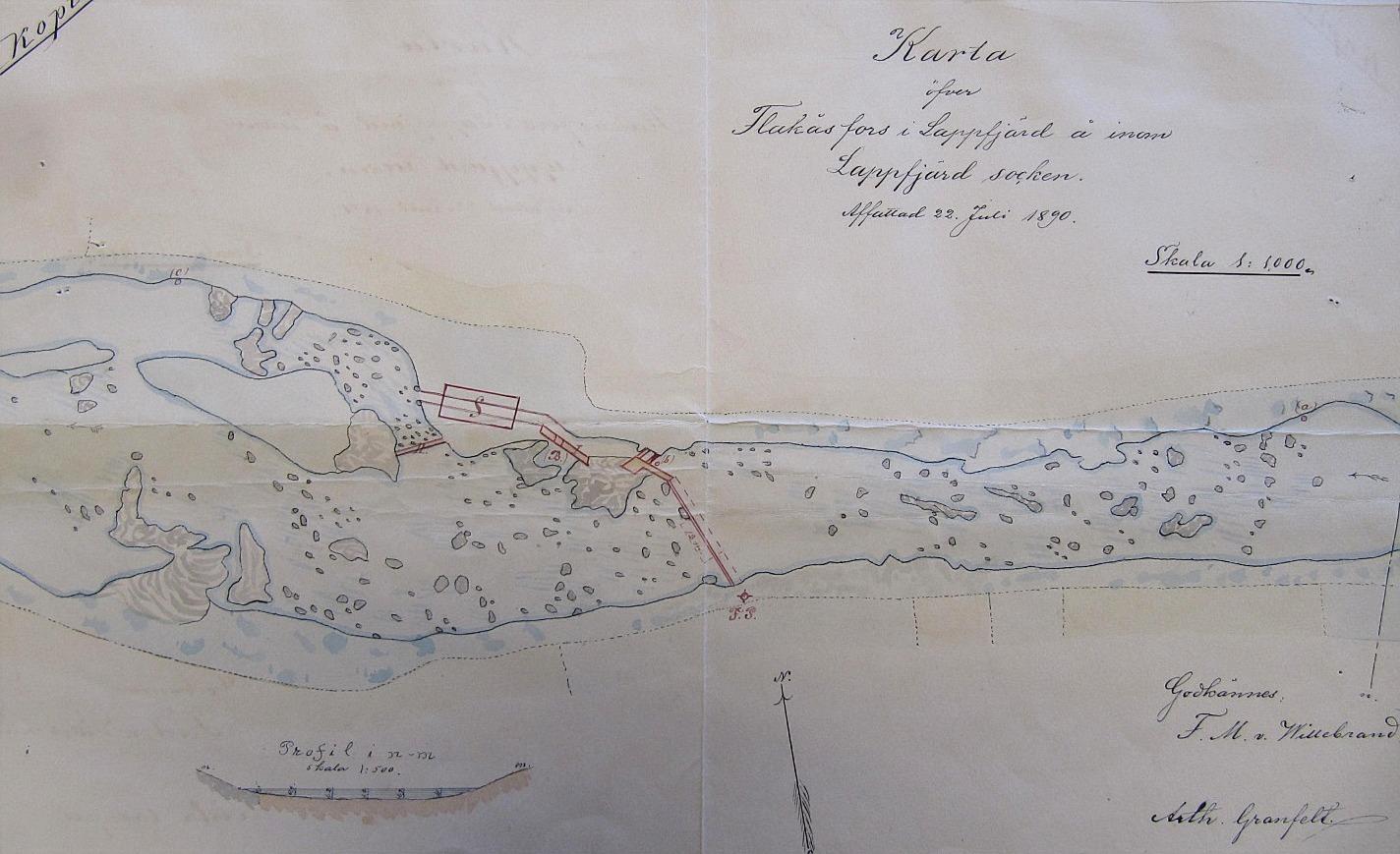 I Storfors finns Flackåsforsen eller Landgärdsforsen och där hade det funnits en kvarn och såg sedan år 1781. Först på åns södra sida men i slutet på 1800-talet byggdes den på den norra sidan. Denna fors har en fallhöjd på 1,2 m. Här en karta från 1890 över Flackåsforsen där sågen finns utritad.