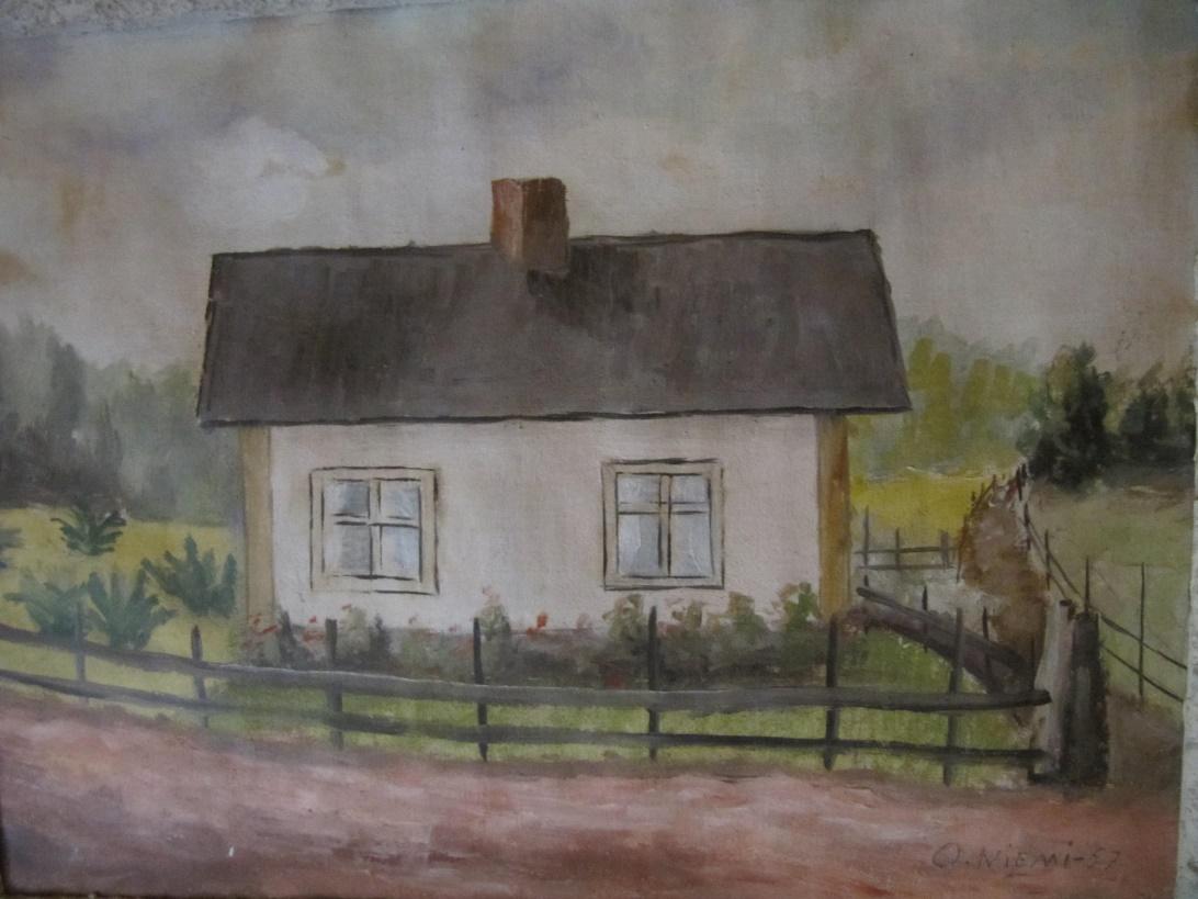 Så här såg Lövholms gård ut enligt Elvis son Olavi Niemi. Olavi gjorde målningen år 1957, då han var endast 10 år gammal.