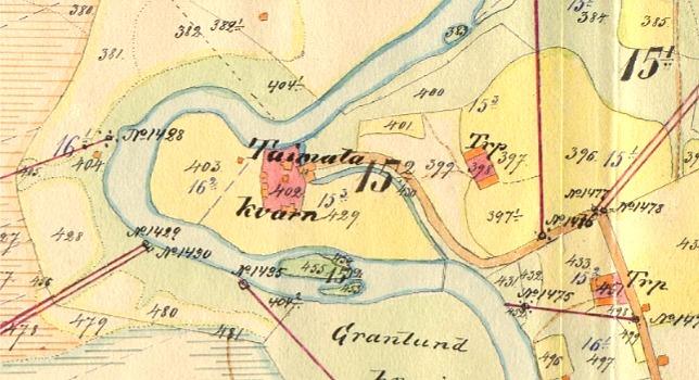 I Tuimala-forsen i Kornbäcken byggdes år 1925 ett elkraftverk av lokala krafter men som sedan såldes åt Jyllinkosken Sähkö. Rester av detta kraftverk finns fortfarande kvar. På kartan ser vi var kraftverket fanns.