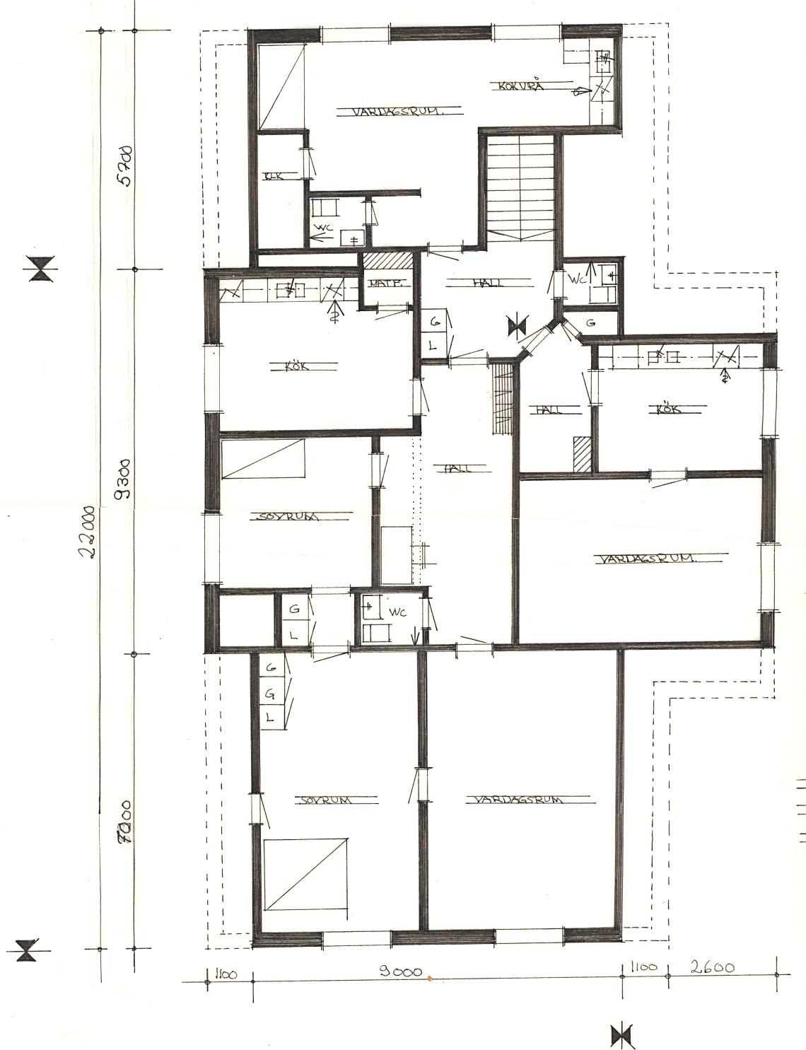 I övre våningen fanns det 3 lägenheter.