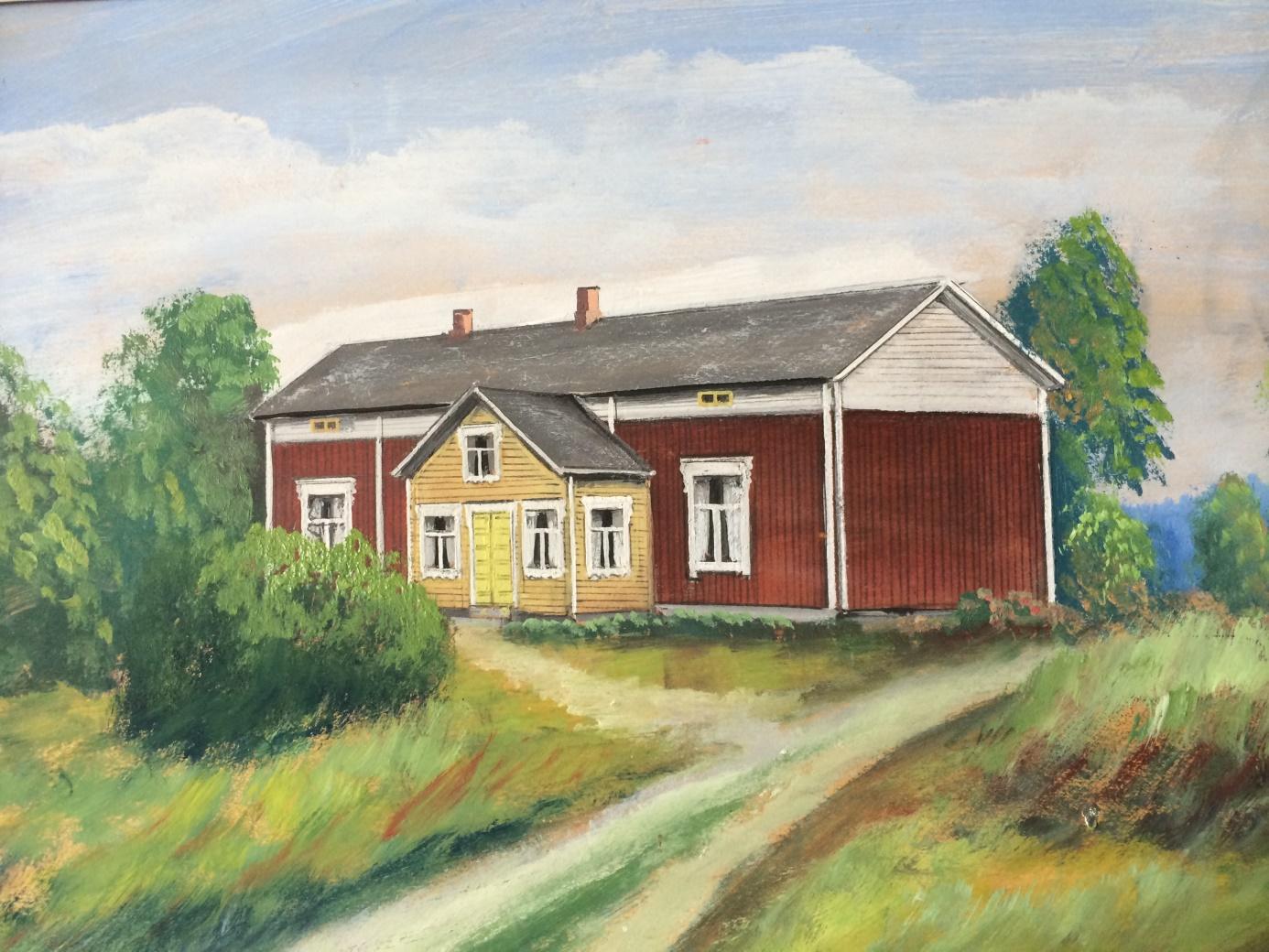 Så här såg gården ut från nordväst enligt konstnären Rosblom.
