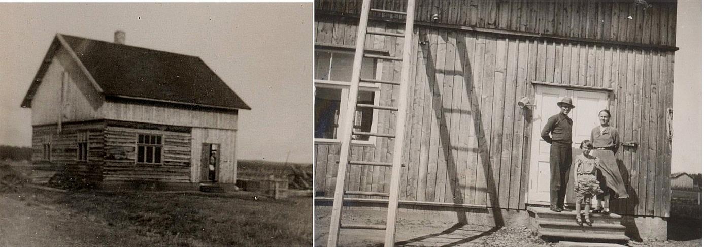 På bilden t.v. den nybyggda gården år 1932 och t.h. står Johannes och Sylvi på trappan tillsammans med dottern Alli år 1934.