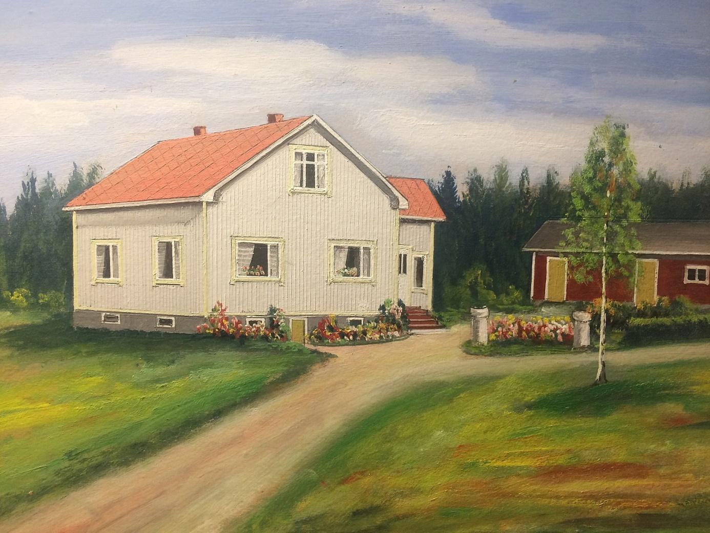 Rosbloms målning av Holmbergs gård.