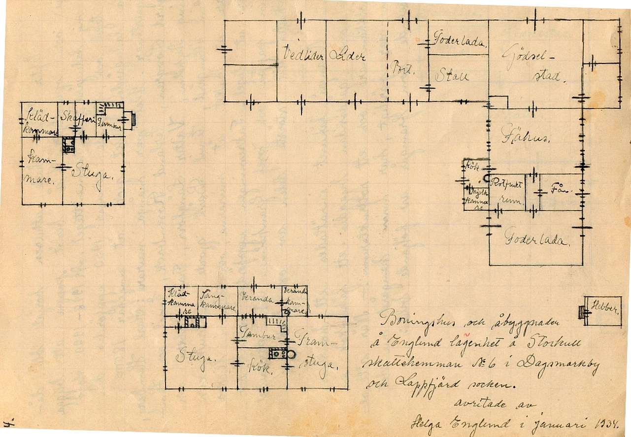 Ovanpå fähuset byggdes ett hönshus, på gårdssidan byggdes ett fähuskök, en mjölkkammare och ett rotfruktsrum. År 1934 har Helga Englund gjort upp en ny ritning, där nya uthuset är med.