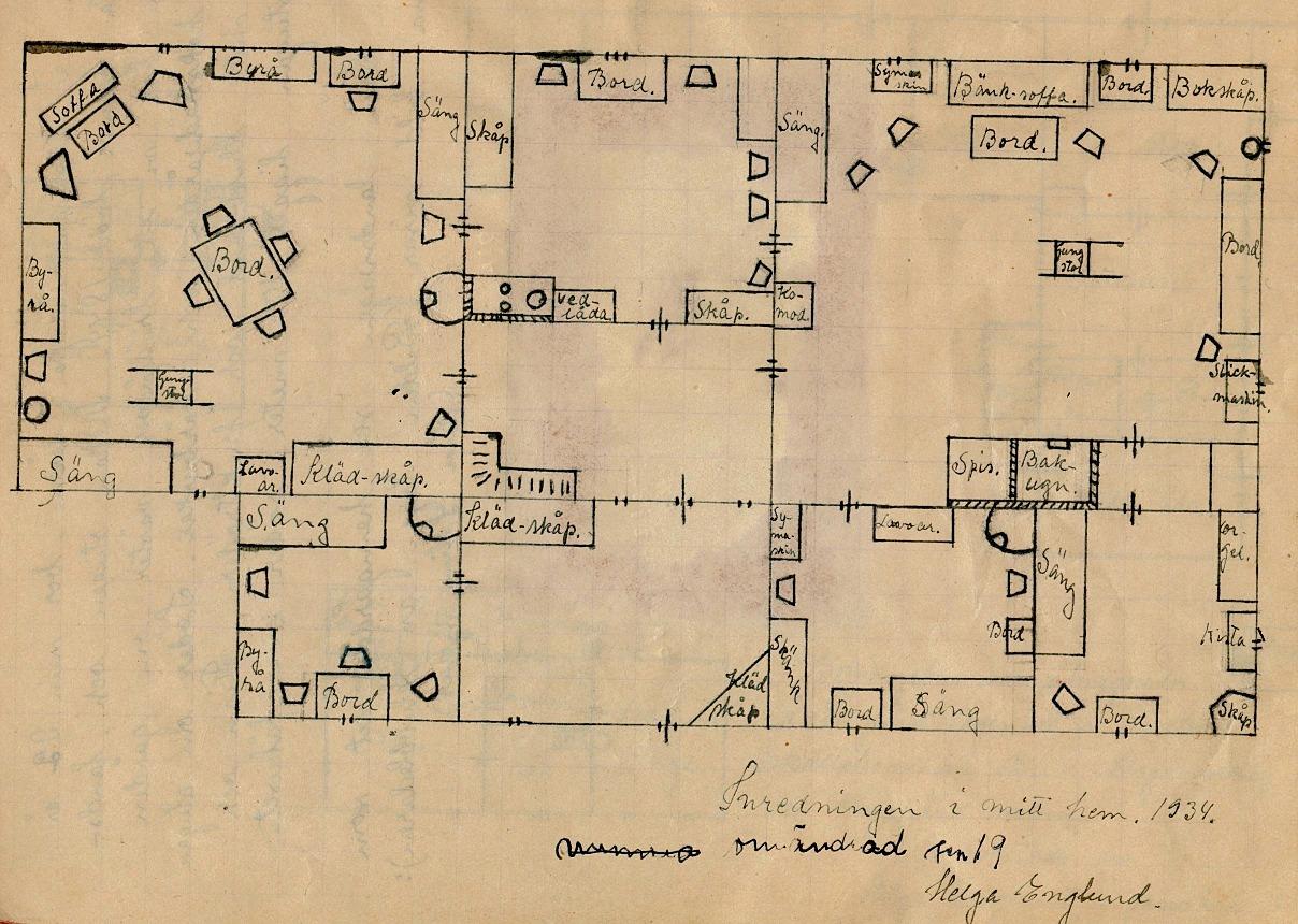År 1934 gjorde Helga Englund denna ritning som visar hur den nya gården i Palon var möblerad.