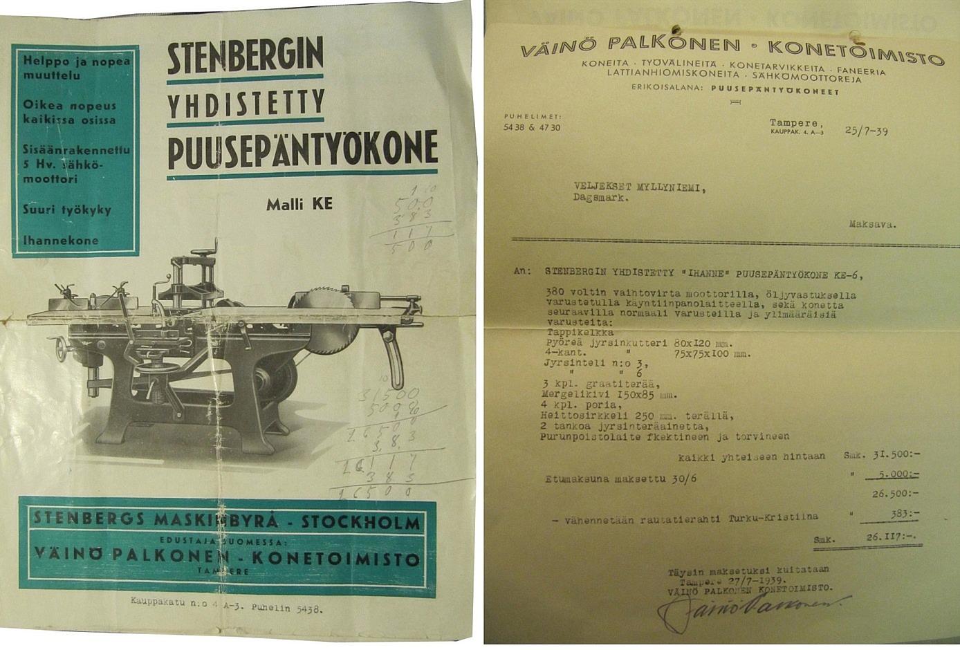Den tummade broschyren från Stenbergs finns fortfarande i behåll. Räkningen på 31 500 mk är inte lika tummad. Omräknat i dagens valuta skulle den ha kostat lite över 11 000 e.
