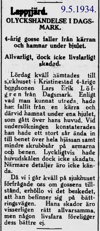 Så här skrev tidningen Syd-Österbotten om en olycka som Lars Löfgren var med om som 4-åring.
