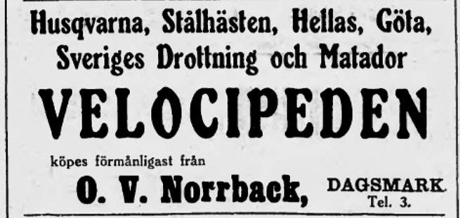 Åtminstone utbudet av cyklar var stort och det var fina och kända märken som Norrback bjöd ut i Syd-Österbotten i maj 1935.