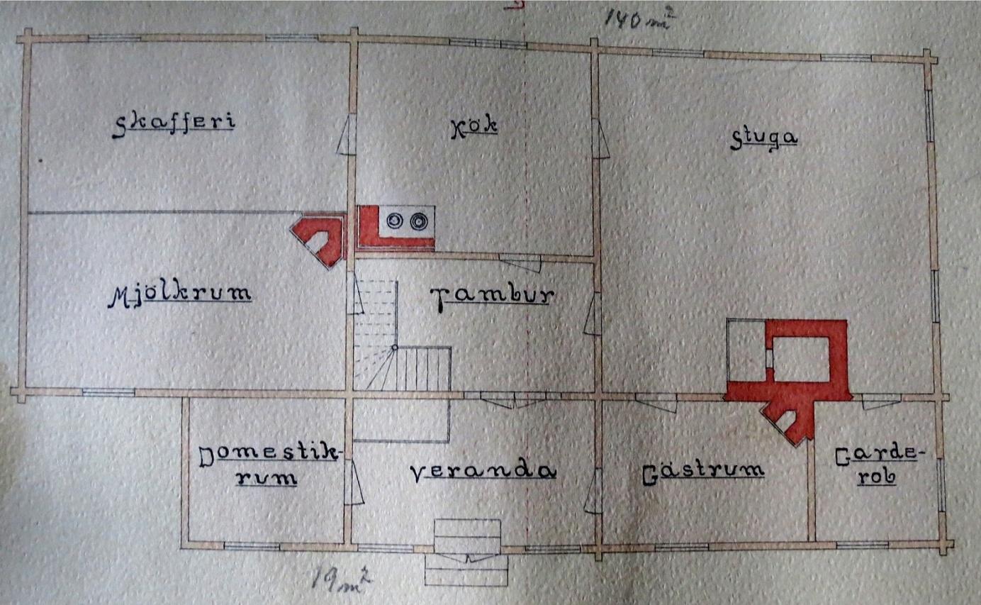 Den här planritningen uppgjordes år 1908 av Emil Storkull då han gick i industriskolan i Vasa. Emil var bror till Erik Anders Englund. Emil var också med och byggde folkskolan i Dagsmark år 1909 men dog i lungsot år 1912, endast 24 år gammal. Domestikrummet som finns i nedre vänstra hörnet är ett rum passande för tjänstefolket.