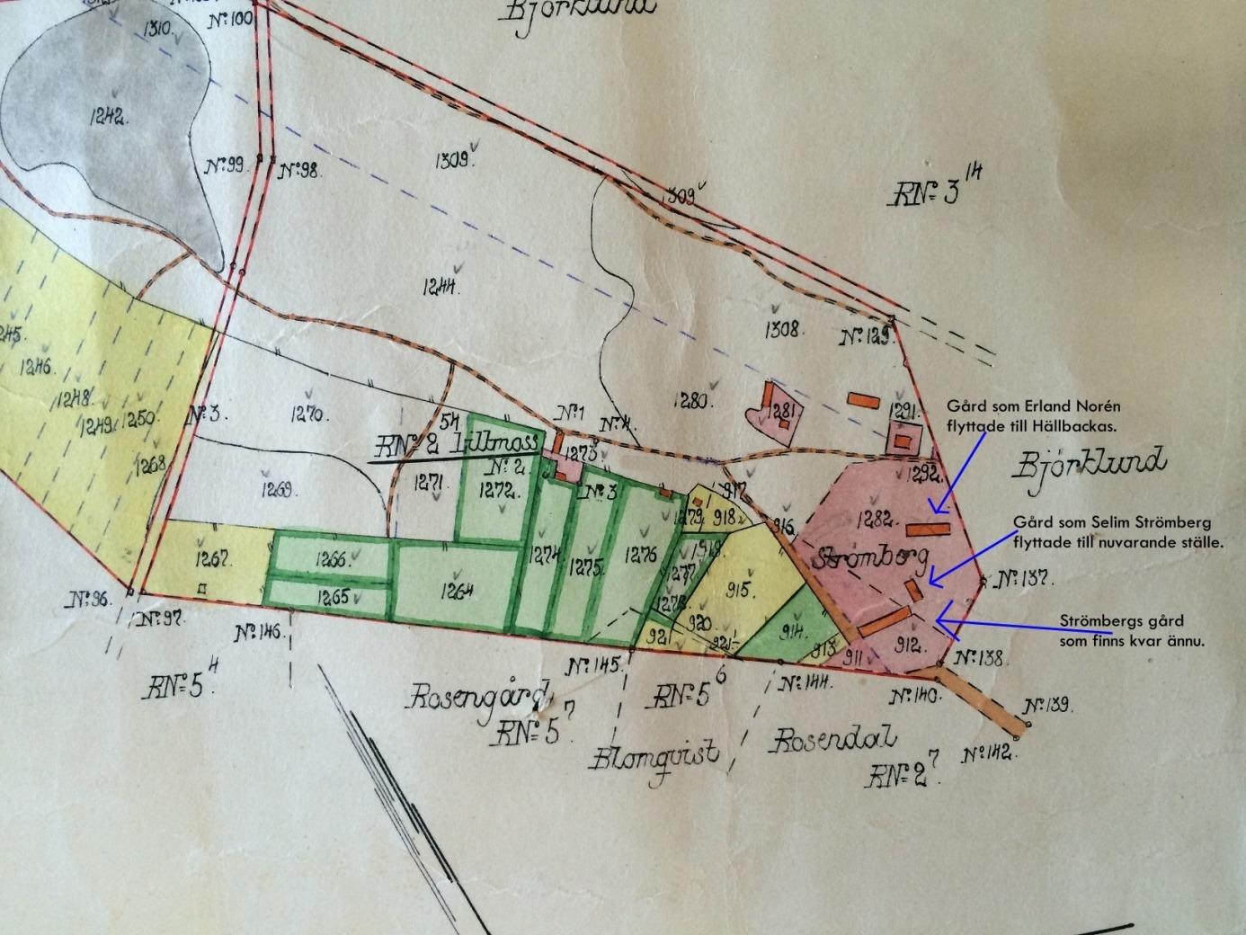 På den gamla kartan så ser vi var Strömberg hade sitt hemman ovanför Kiaskroken. Ovanför Strömbergas upp i skogen på figur 1281 står Borg-Oskars stuga.