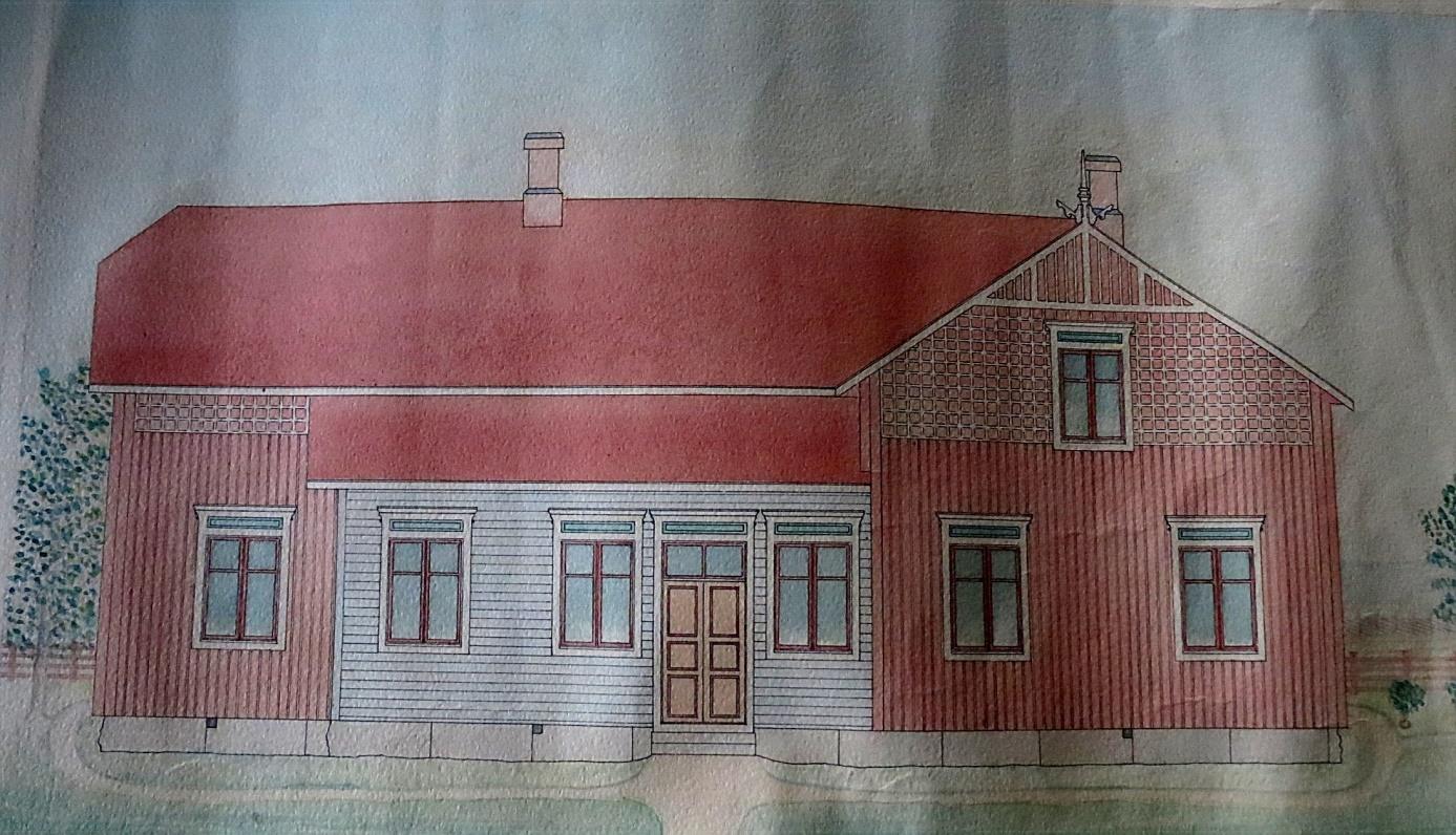 Fasaden mot öster, alltså mot gårdssidan.