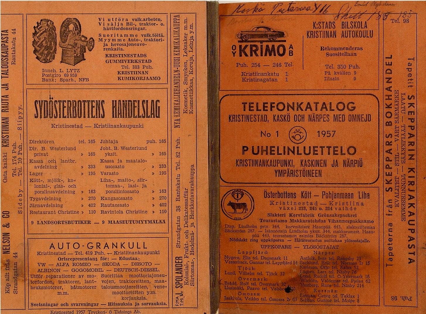 År 1957 var antalet telefoner nästan upp i 100 st, här modell hur telefonkatalogen såg ut då.
