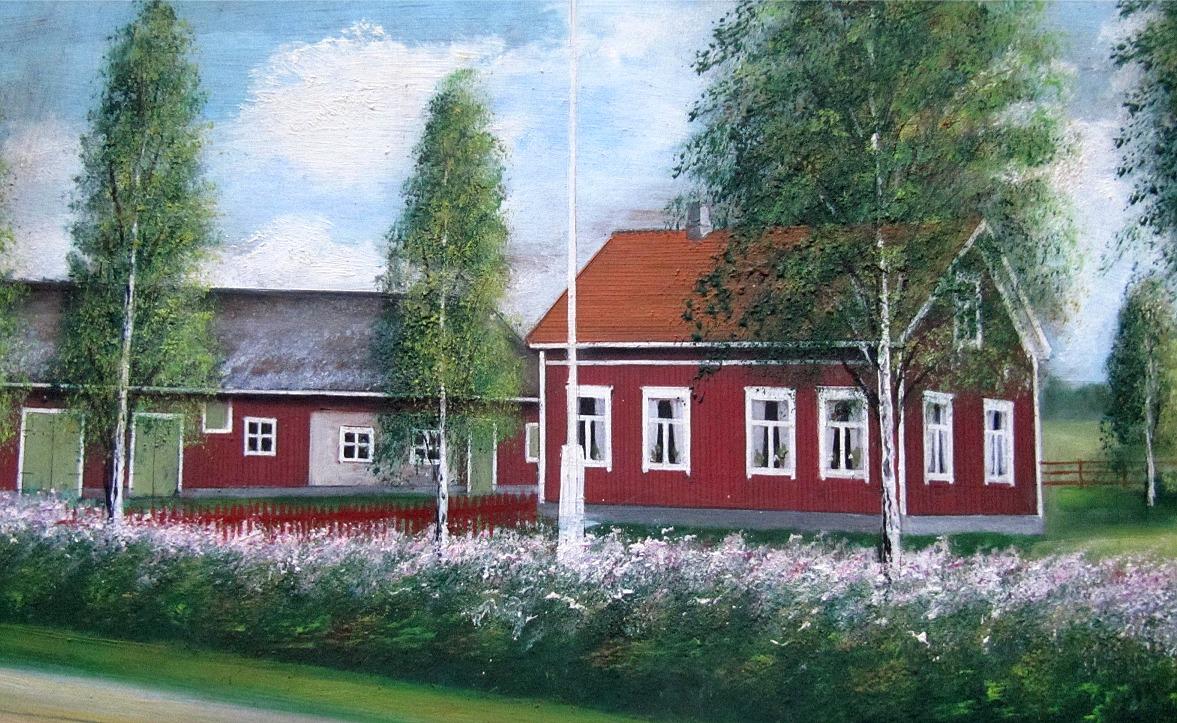 Ungefär år 1970 såg gården ut så här, som Frans byggde på 1930-talet och som revs år 1975. Målning av Rosblom.