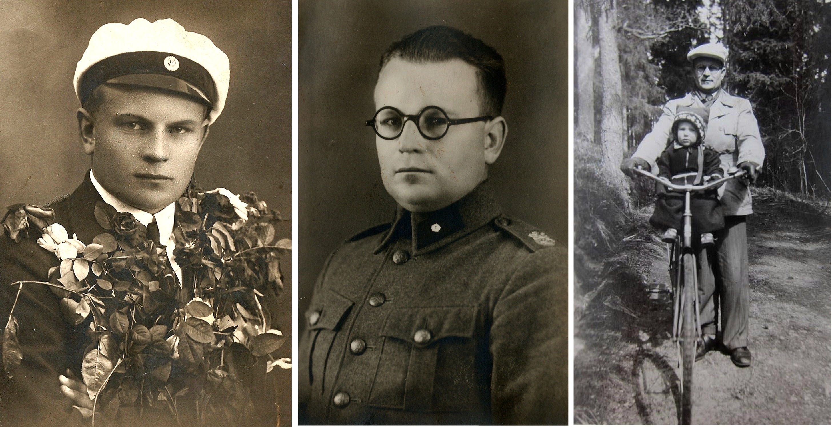 Här 3 foton av Bertel i olika livsskeden, först som student från samskolan i Kristinestad, sedan fänrik i militären och till höger som pappa.