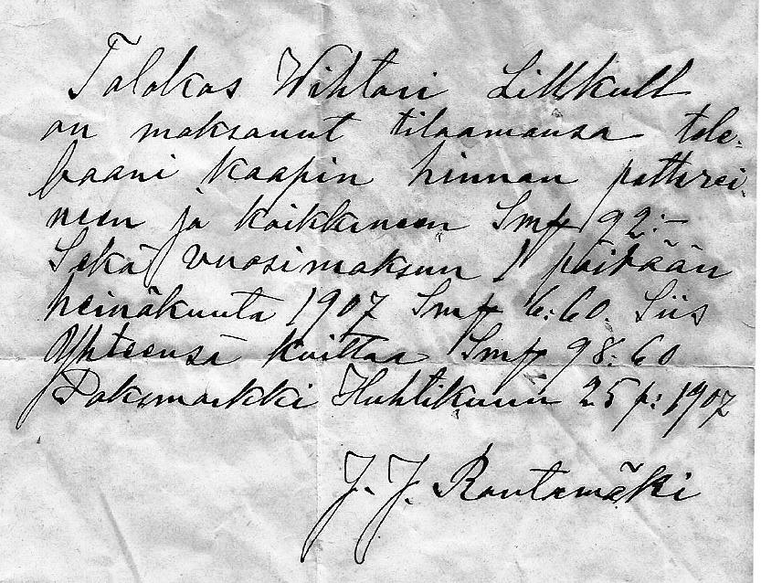 """På det här kvittot från år 1907 ser vi att """"Pelas-Viktor"""" Lillkull har köpt en telefon med därtill hörande batteri och årsavgift för 98,60 mark. J.J Rantamäki är betalningsmottagare, högst troligt från Storå. Kopia av kvittot av Inga-Lill Sandström från Vasa."""