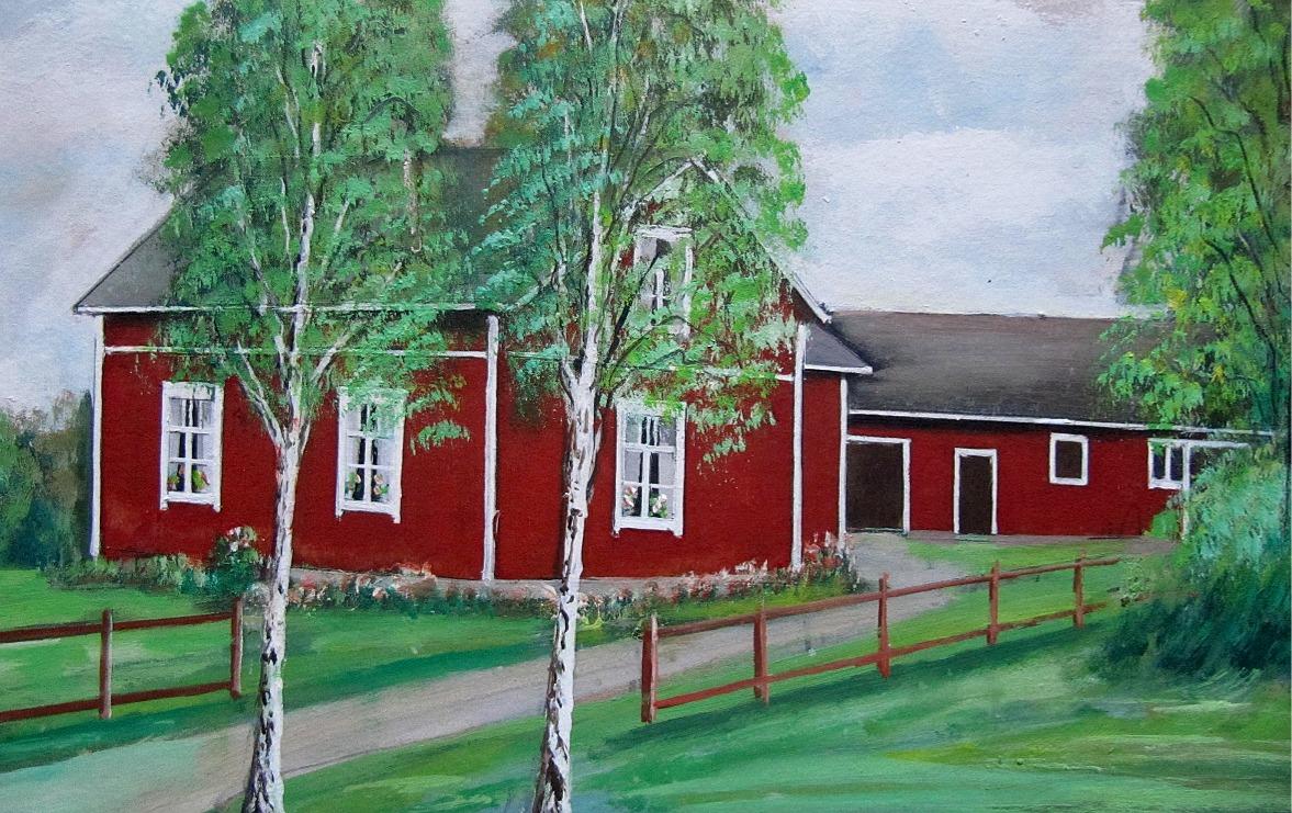 Santamäkis Knut och Hildas gård på Åbackan såg ut så här enligt konstnären Rosblom.