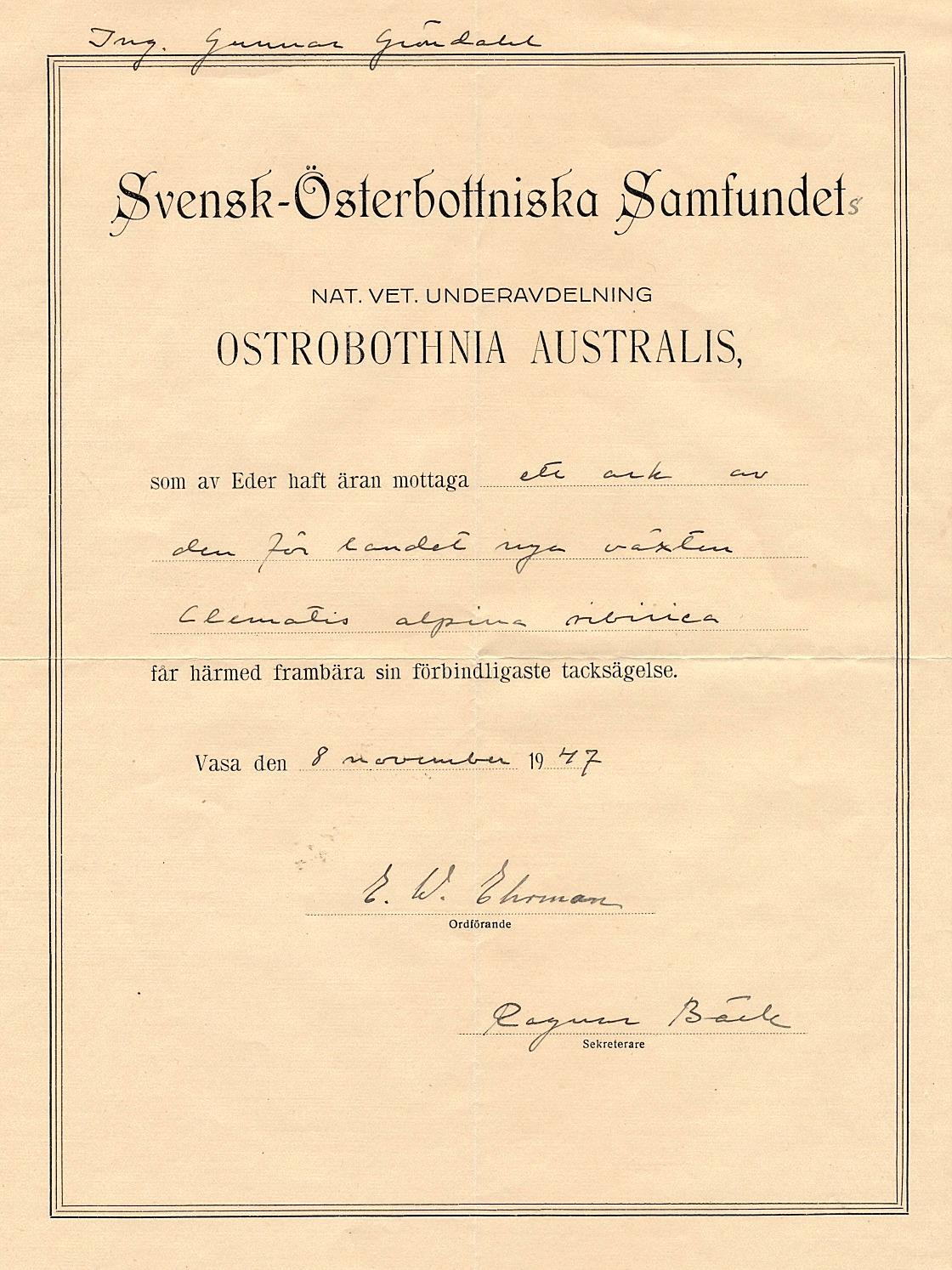 I november 1947 fick Gunnar Gröndahl detta diplom för fyndet av den unika sibiriska sipprankan.