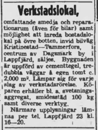 I oktober 1951 försökte Wester sälja verkstaden och annonserade då i Syd-Österbotten. Någon köpare uppenbarade sig inte den gången men den såldes sedan åt familjen Norrvik.