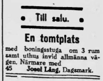 I januari 1941 bjöd Josef ut den gamla gården på Brobackan.