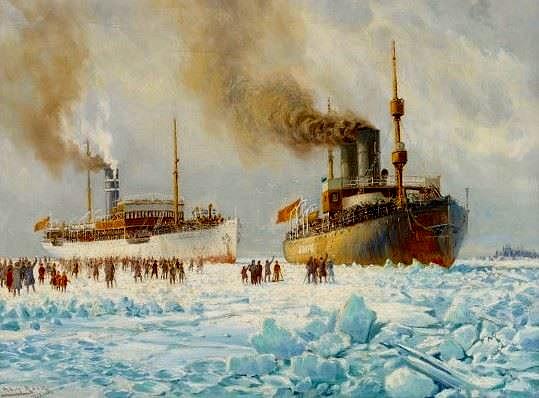 På denna målning av Adolf Bock så ser vi hur jägarna mottas av vasaborna, som kommer emot isbrytaren Sampo och S/S Arcturus ut på isen.