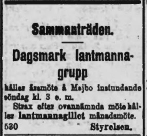 Annons i tidningen Syd-Österbotten som kallade till möte på Majbo.