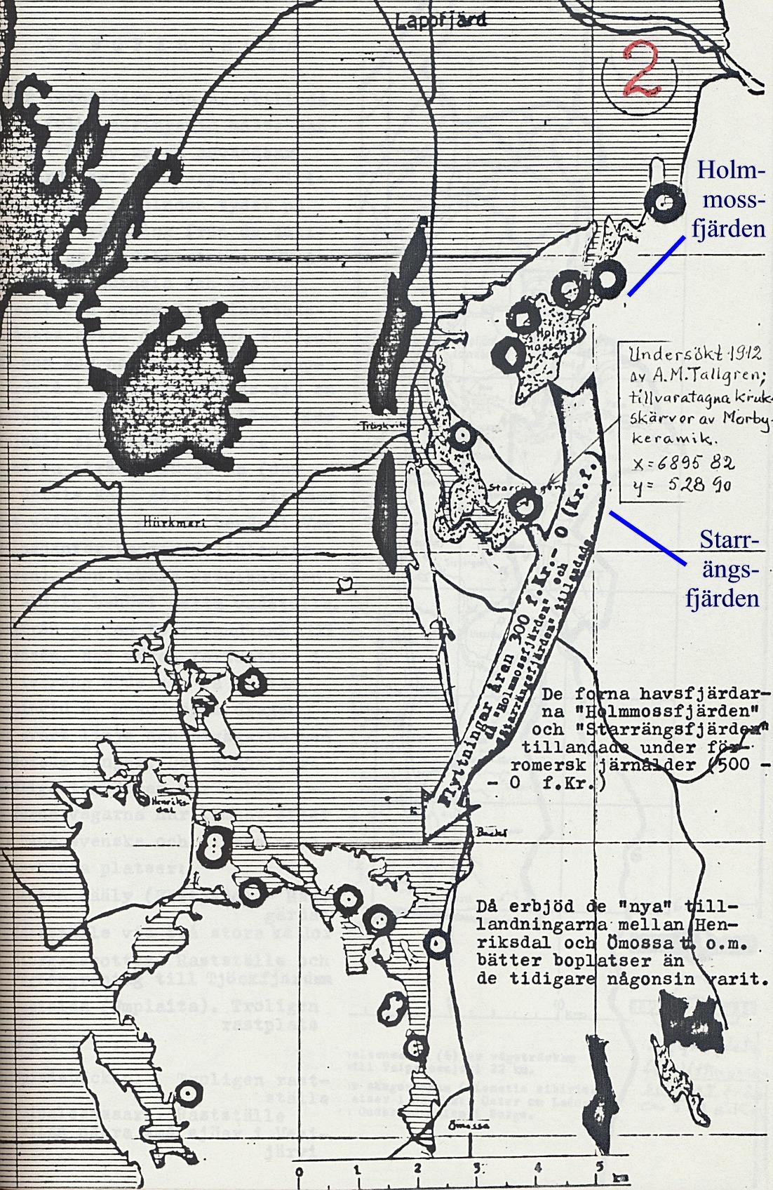 På Rurik Nylunds karta från 500 f. Kr så ser vi att så gott som hela Lappfjärd och Härkmeri täcks av vatten, medan delar av Henriksdal och Ömossa börjar bli synliga. Starrängen och Holmmossen  börjar också torka ut.