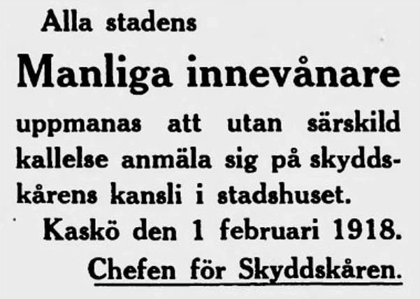 Annons i Kaskö Tidning 6.2.1918.