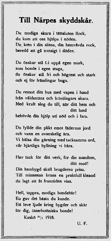 Kasköbornas tackdikt till skyddskåristerna i Närpes, införd i Kaskö tidning 6.2.1918.