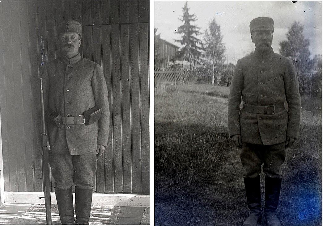 På dessa foton skyddskåristen Viktor Nylund. Fotografierna från SLS:s arkiv i Vasa.