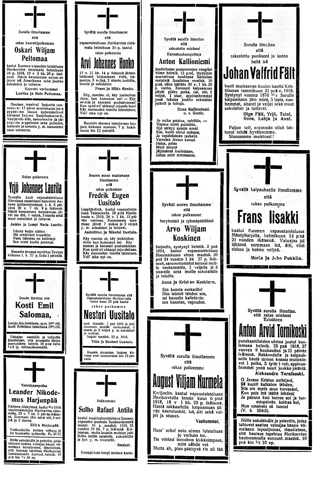 1918 dödsannonser 6