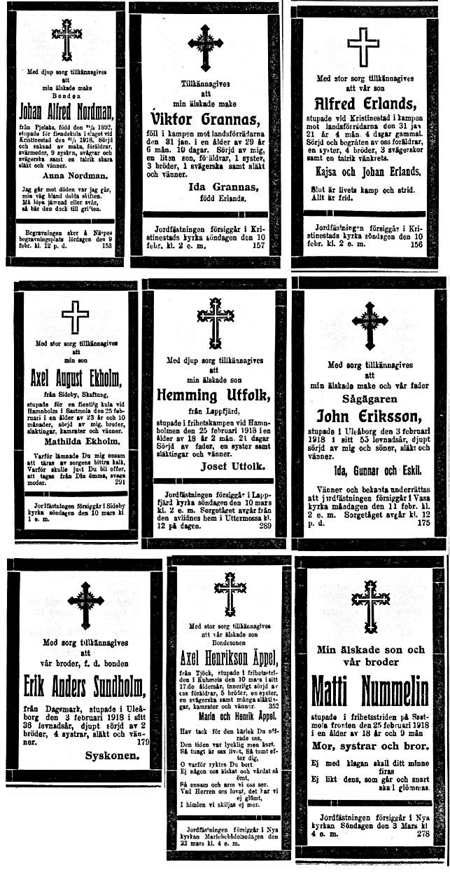De flesta stupade hedrades med en dödsannons i lokaltidningen. Här några exempel.