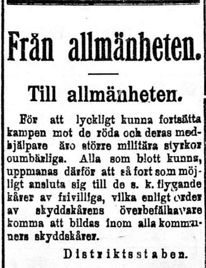"""Den 2 februari 1918 annonserade lokaltidningen, att alla lämpliga skyddskårister borde ansluta sig till de """"flygande kårerna""""."""