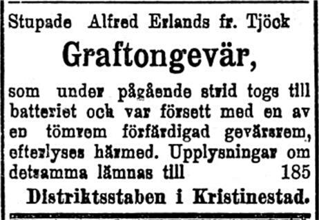 Den 16 februari 1918 efterlyste staben ett Graftongevär som tjöckbon Alfred Erlands skulle ha haft med sig.