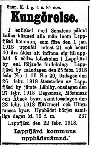 Här kallade Lappfjärd kommun alla män i åldern 21 - 40 till uppbåd på södra folkskolan.