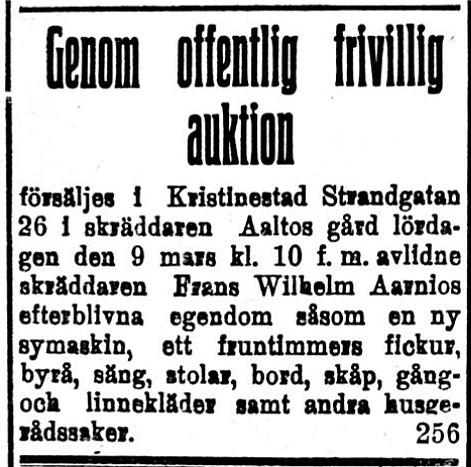 Den 9 mars hölls det auktion efter skräddaren och ledaren för rödgardisterna i Kristinestad Frans Aarnio,