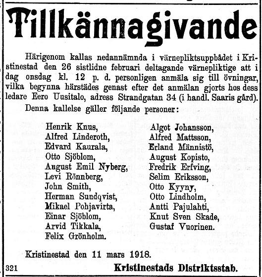 Annons i Syd-Österbotten den 13 mars 1918 med namn på vilka som inkallats för militärtjänst.