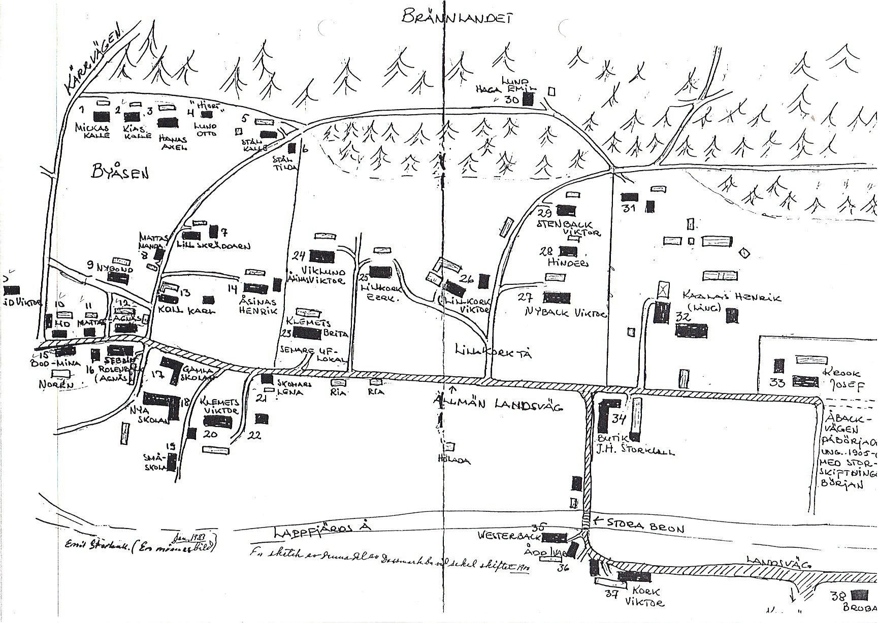 Emil Storkulls karta från 1983, föreställande Dagsmark år 1900.